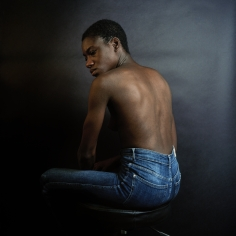 Christie Neptune  Sitting Like Gordon With Bare-Back, Indigo, and Shutter Release in Hand, 2018  Digital chromogenic print  20 x 20 inches
