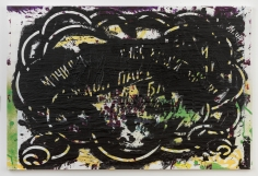 "Luca Dellaverson ""Break The Law"", 2017 Oil and inkjet on canvas 48 x 72 inches"