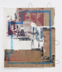 """Tomashi Jackson  """"John Brown's Body (Mr. Dorce in Red)"""", 2019  Mixed media and collage on paper and muslin  58 1/4 x 50 1/4 inches"""