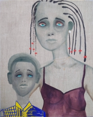 """February James, """"We All Have Choices"""", 2020, oil, oil pastel, watercolor and acrylic on linen, 40 inches by 32 inches."""