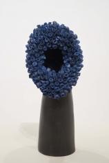 "Simone Leigh ""No Face (cobalt)"", 2015 Terra cotta, porcelain, cobalt and epoxy 18 x 9 x 8 inches"