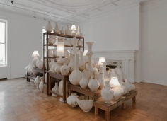 """Zachary Armstrong  """"Pots for George"""", 2018  Plywood, aluminum screen, plaster, fiberglass, matte medium, dimensions variable"""