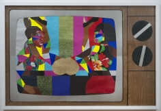 """Derrick Adams """"Stunts and Shows"""", 2014 Mixed media collage on paper and mounted on archival museum board 48 x 72 inches"""
