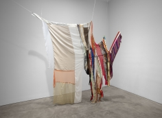 Installation view of Eric N. Mack's Modern Comfort, 2019 fabric, thread, pins and rope 113 1/2 x 100 x 26 in. (288.3 x 254 x 66 cm)