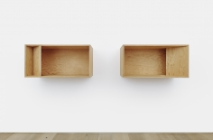 Donald Judd's Untitled Plywood 2-piece sculpture from 1989 installed on the wall, overall dimensions: 19 5/8 x 98  x 19 5/8 in. (50 x 250 x 50 cm)