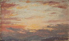 Frederic Edwin Church, Sunset on July 26, 1870, 1870, oil on paper mounted on artist's board, 8 1/4 x 13 inches (21 x 33 inches)