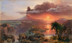 Frederic Edwin Church, Oil Study for Cotopaxi, 1861, oil on canvas, 7 1/2 x 12 inches (19.1 x 30.5 cm)
