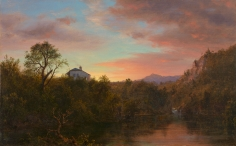 Frederic Edwin Church, Sunset, 1860, oil on canvas, 11 3/4 x 18 3/4 inches (29.8 x 47.6 cm)