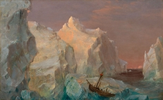 Frederic Edwin Church, Icebergs and Wreck in Sunset, 1860, oil on paperboard mounted on canvas, 8 1/4 x 12 1/4 inches (21 x 31.1 cm)