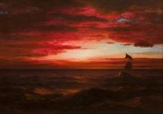 Frederic Edwin Church, Marine Sunset (The Black Sea), 1881-1882, oil on canvas, 30 1/8 x 42 inches (76.5 x 106.7 cm). Michael AltmanFine Art & Advisory Services.