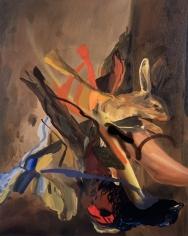 Spill The Wine, 2004  Oil on canvas  36h x 29w x 3/4d in  LR2004016  Collection France
