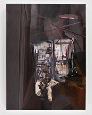 LES ROGERS  Window Reader, 2008  Oil on canvas  48h x 36w x 1d in