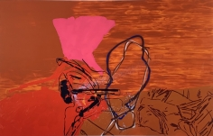 LES ROGERS  Understaged, 2001  Oil and spray enamel on canvas  84h x 132w x 1 1/4d in