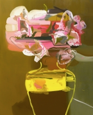 LES ROGERS  Flowers in a Yellow Vase, 2008  Oil on canvas  60h x 54w x 1d in