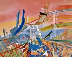 LES ROGERS  Time Takes, 2000  Oil and spray enamel on canvas  96h x 132w x 1 1/4d in