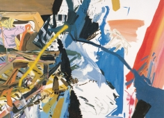LES ROGERS  Well Lost, 2001  Oil and spray enamel on canvas  96h x 132w x 1 1/4d in