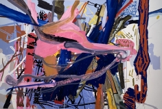 LES ROGERS  Third Try, 2001  Oil, acrylic and spray enamel on canvas  72h x 108w x 1 1/4d in