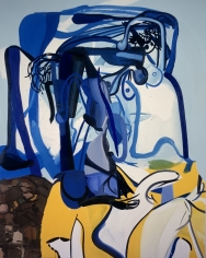Christopher Knight Pulitzer Prize 2020 Los Angeles Times Les Rogers Blue Haired Stripper, 2005  Oil on canvas