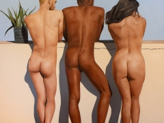 Gabrial Sanchez oil painting of three figures