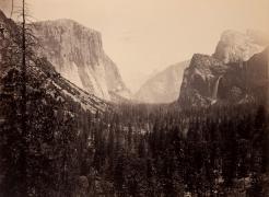 "Mammoth Plate Photograph ""Up Yosemite Valley from Mariposa Trail #27"" by Carleton Watkins"