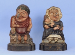 """Pair of Painted Cast Iron """"Punch and Judy"""" Doorstops"""