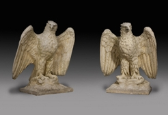 Pair of English Composition Stone Gatepost Eagles
