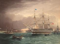 U.S.S. Pennsylvania in Port by J.E. Buttersworth