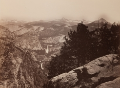 "Mammoth Plate Photograph ""Vernal Fall and Nevada Fall from Glacier Point Yosemite Valley No 100"" by Carleton Watkins"