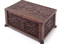 "Carved Patriotic Walnut Box Signed ""J.H. Bellamy 1876"""