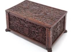 "Carved Patriotic Walnut Box Signed ""J.H. Bellamy 1876"""