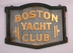 "Painted and Gilded Double-Sided Sign from The ""BOSTON YACHT CLUB"""