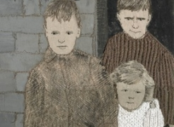 sue stone, detail of embroidery on canvas, three children from ww2 era