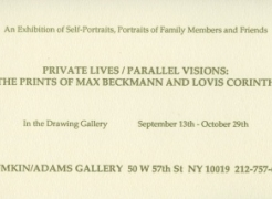 Max Beckmann & Lovis Corinth: Private Lives/ Parallel Visions. Lithographs and Etchings (Drawing Gallery)
