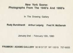 Rudy Buckhardt,Arthur Leipzig, & Fred McDarrah: New York Seen: Photographs of New York in the 1940's and 1950's