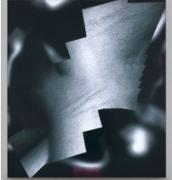 Seth Price, Untitled, dye-sublimation print on synthetic fabric, embroidery, aluminum, LED matrix