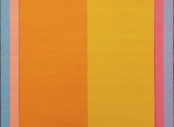 Steven Alexander, Reverb 9, 2018, Oil and acrylic on linen, 72 x 48 inches, Signed and titled on the verso, Vertical rectangles in yellow, lilac, orange and blue, Steven Alexander is an American artist who makes abstract paintings characterized by luminous color, sensuous surfaces and iconic configurations.