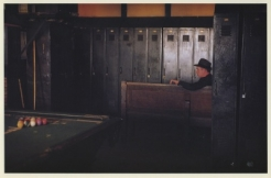 Exhibition announcement picturing Arthur Leipzig, 'Subway Crew Room, Stillwell Avenue Terminus, 1953' 1992