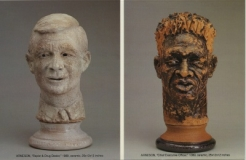 Exhibition announcement picturing Robert Arneson, l-r: Rapist & Drug Dealer 1989; C.E.O, 1990.