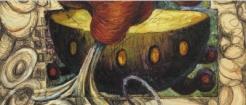 Exhibition announcement picturing Sandy Winters, Pandora's Vessel 1993