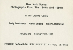 Rudy Burckhardt, Arthur Leipzig & Fred W. McDarrah 1990 drawing gallery Exhibition Announcement