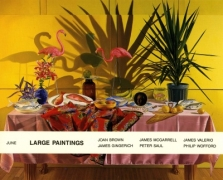 'Large Paintings' exhibition announcement picturing James Valerio, 'Tropical Still-Life with my Head on a Plate' 1987