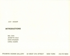 'Introductions' 1988 Exhibition Announcement