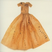 Exhibition announcement picturing Lesley Dill, Poem Dress 1993