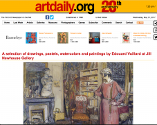 Artdaily: A selection of drawings, pastels, watercolors and paintings by Edouard Vuillard at Jill Newhouse Gallery