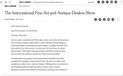 NYT: International Fine Art and Antique Dealers Show
