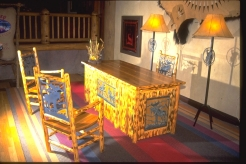 Bronze & Lodgepole Pine Desk & Chair & Floor Lamps (Disneyworld)