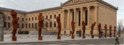 antony gormley arrays abstracted, cast-iron figures along philadelphia museum's iconic steps