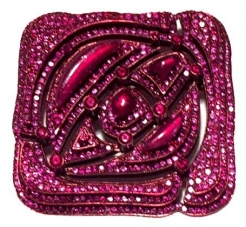 Square Rose Ruby Pin