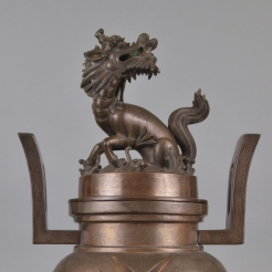 Heavily-Cast Silver-Inlaid Bronze Tripod Censer & Cover
