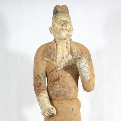 Standing Figure of a Foreign Groom / Painted Gray Pottery